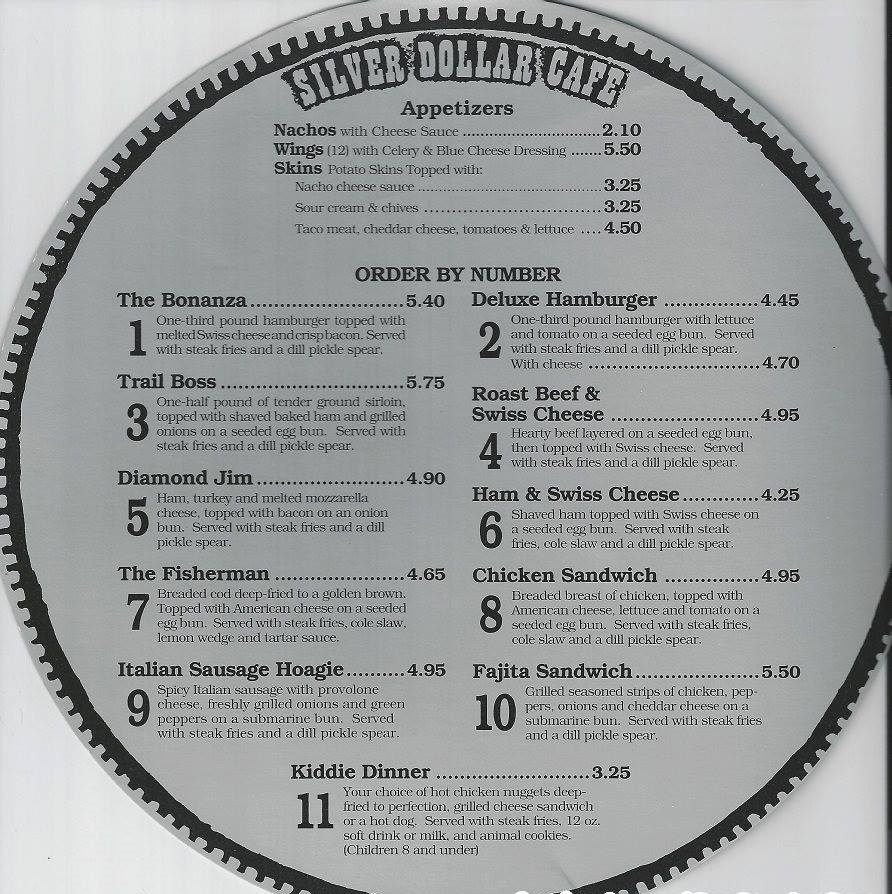 1990's Cedar Point Silver Dollar Cafe Menu 3