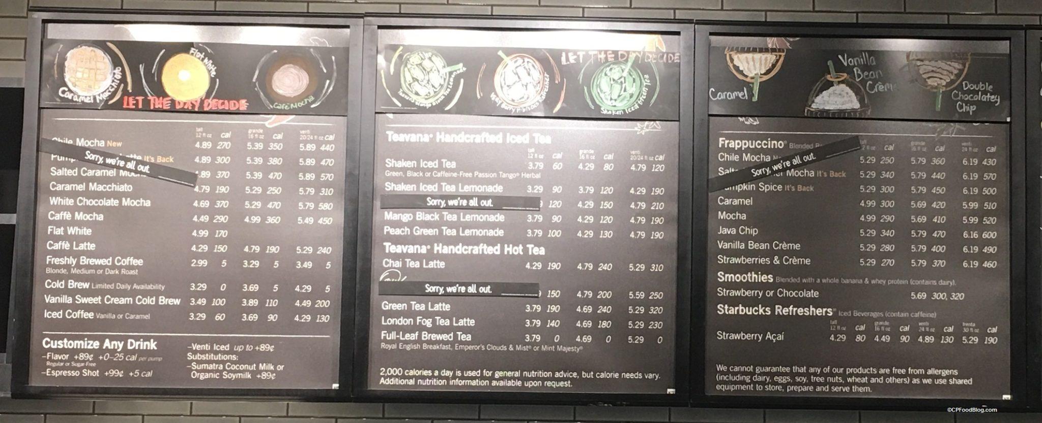 170414 Kings Island Starbucks Menu