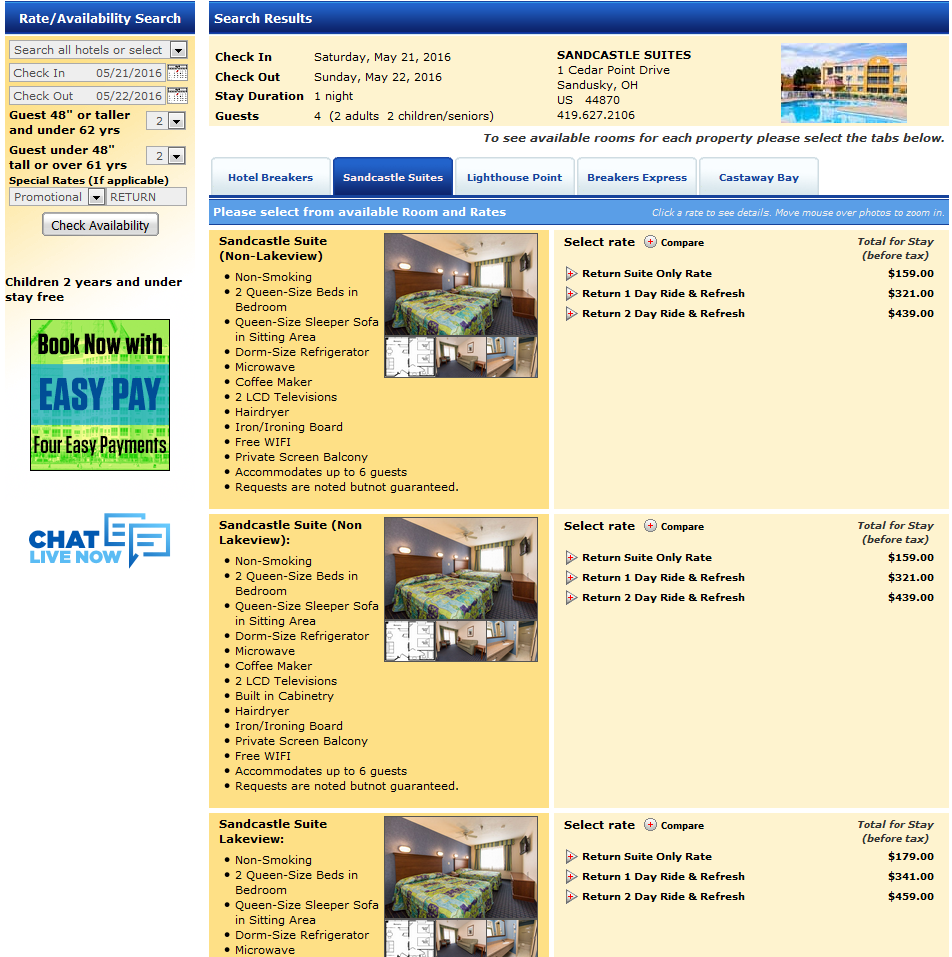 160521 Cedar Point Sandcastle Suites RETURN Rates