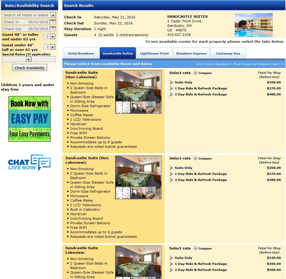 160521 Cedar Point Sandcastle Suites Rack Rates