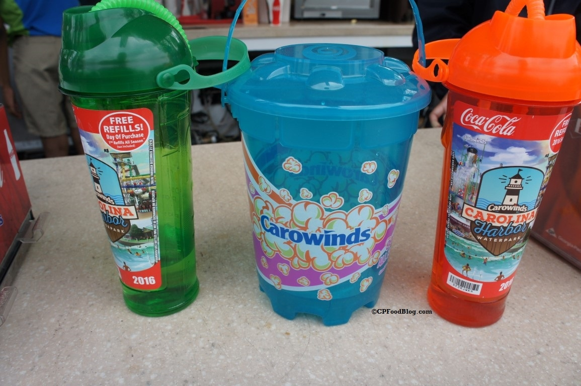 160404 Carowinds Souvenir Cups and Popcorn Bucket