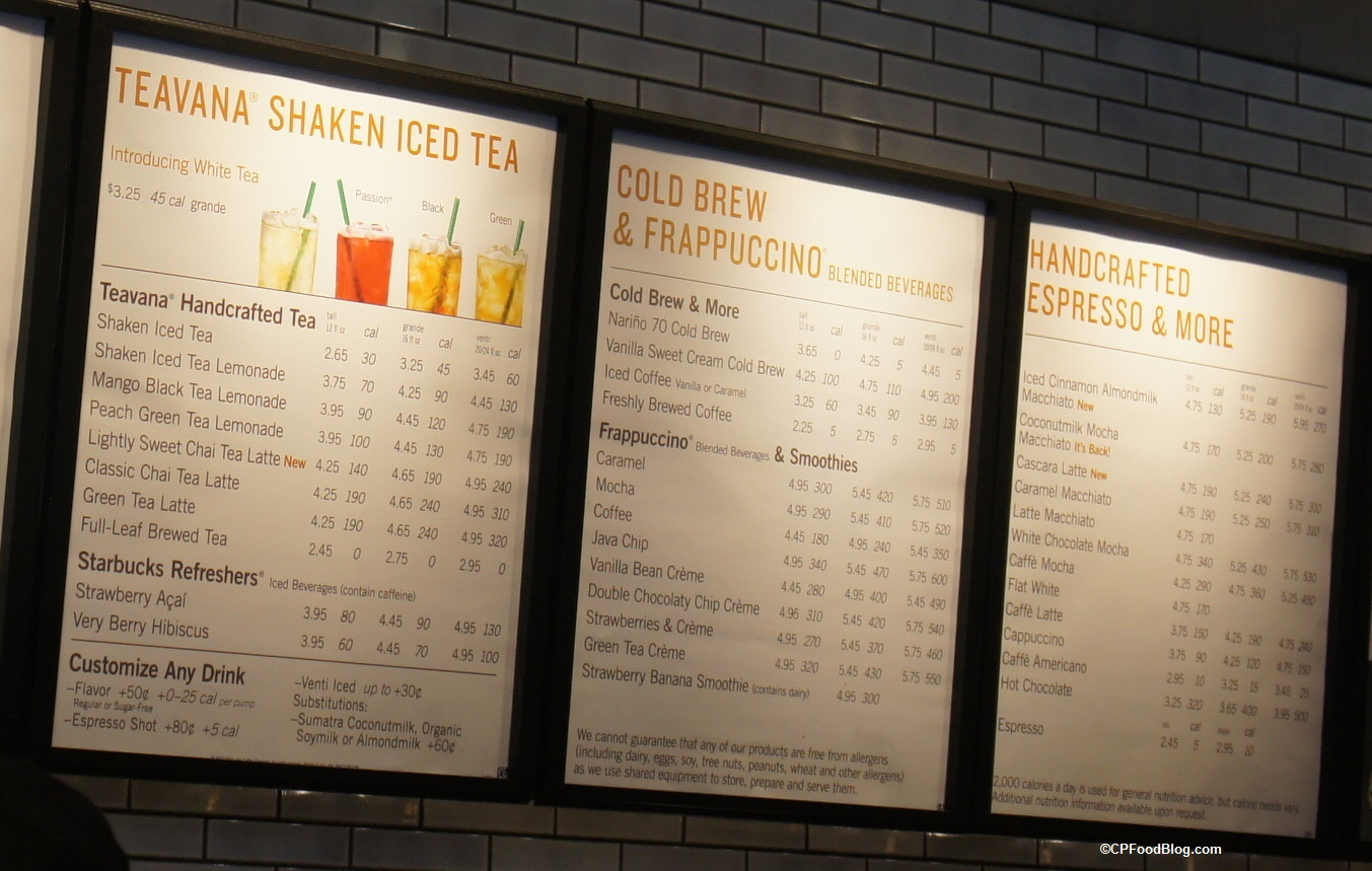 170421 Carowinds Starbucks Menu