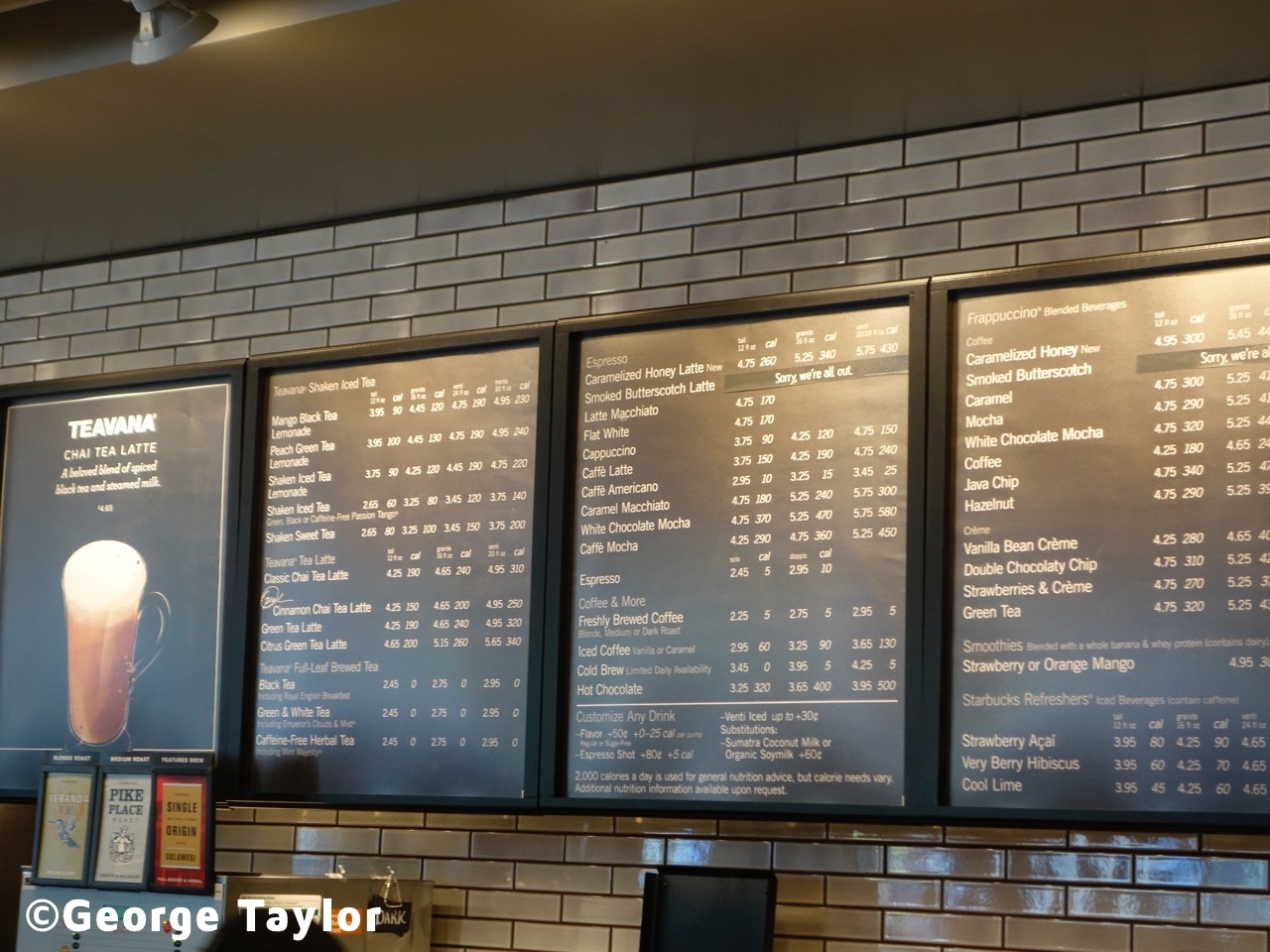 starbucks menu with price
