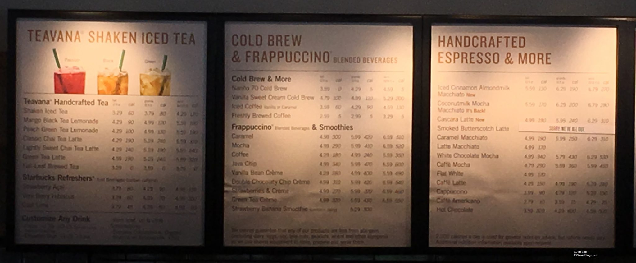 170401 Knott's Berry Farm Starbucks Menu