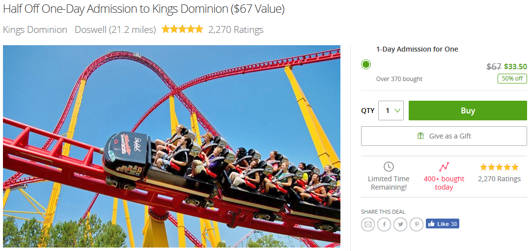 August 2017 Groupon Kings Dominion Discount Tickets