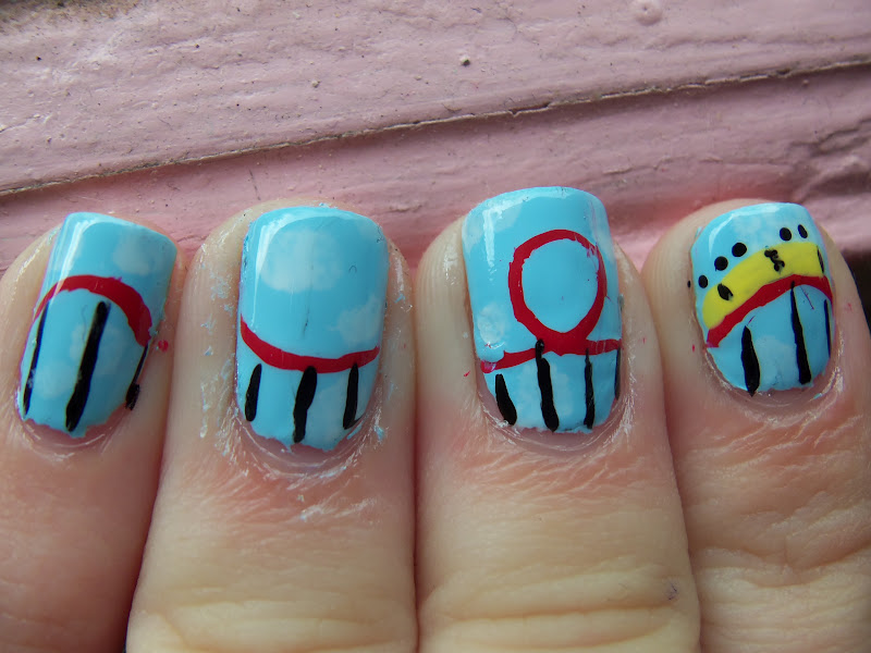 Six Flags Coaster Nails ©Meg's Manicures