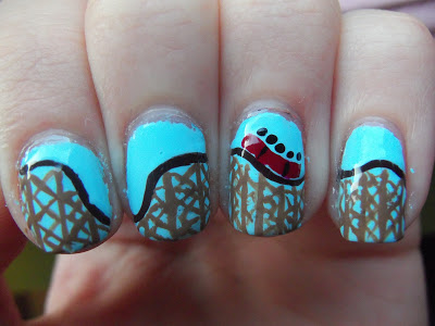 Six Flags Wooden Roller Coaster Nails ©Meg's Manicures