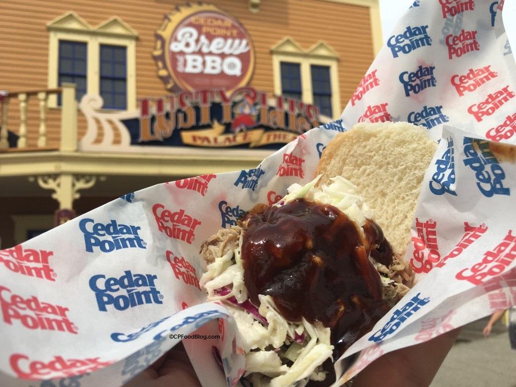 170521 Cedar Point Brew BBQ Pork Shoulder Sandwich with Cole Slaw and Smoky BBQ Sauce
