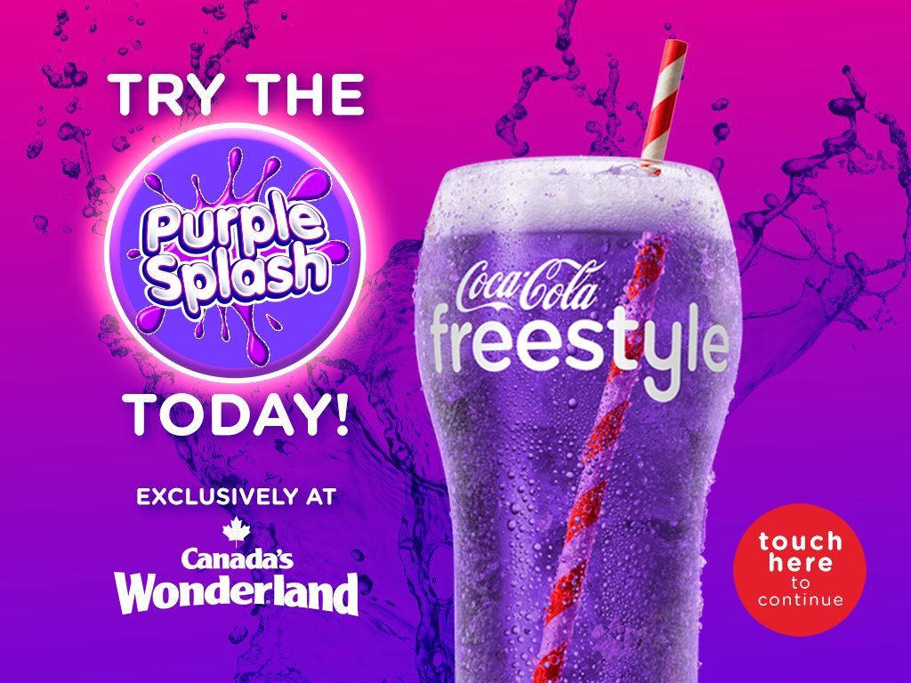 2017 Canada's Wonderland Coca-Cola Freestyle Purple Splash