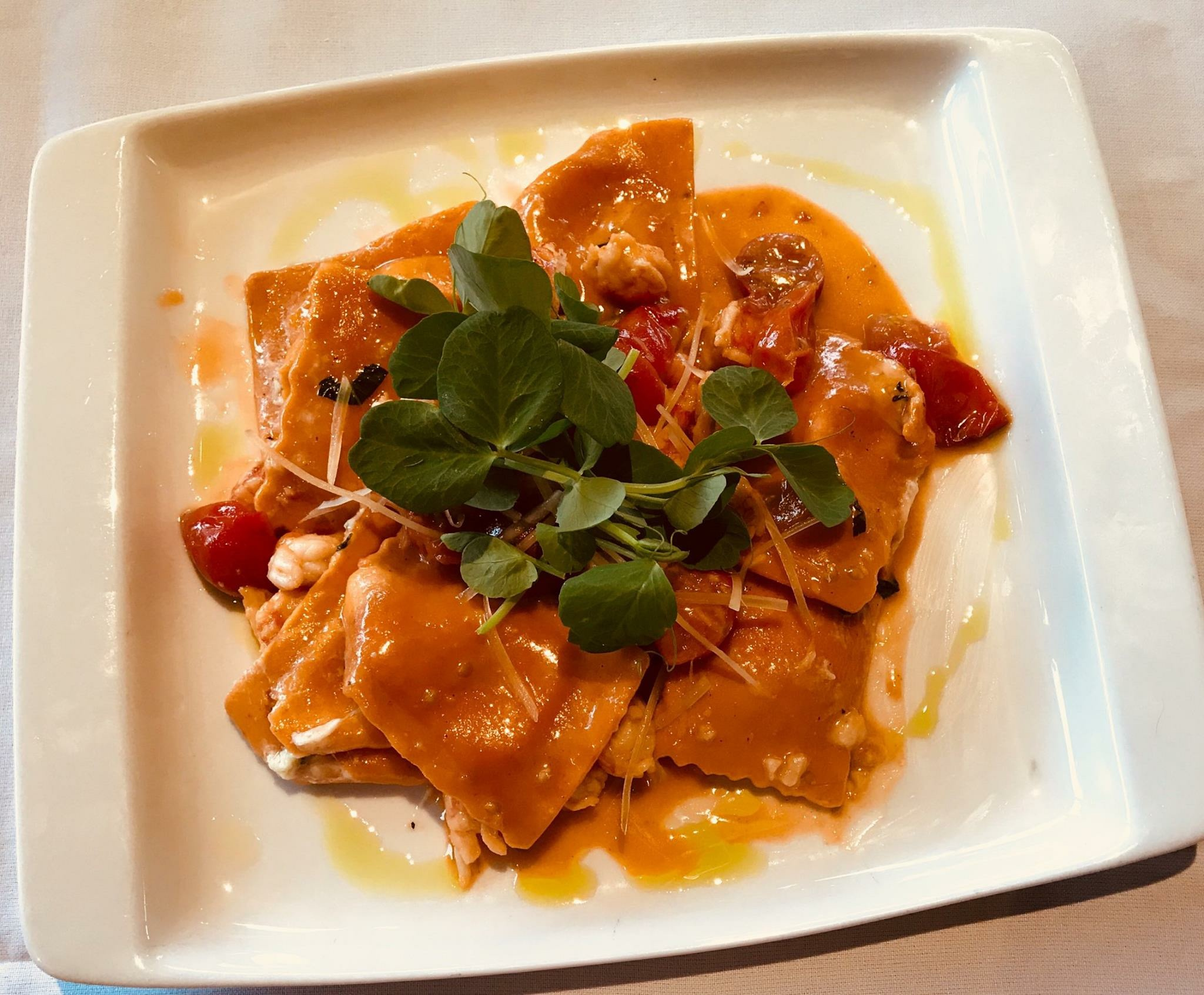 171021 Bay Harbor Sweetest Day Roasted Red Pepper & Smoked Mozzarella Ravioli sauteed with Langoustine Lobster & Heriloom Tomatoes