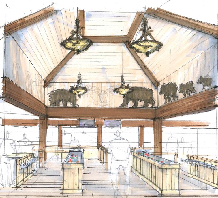 California's Great America 2018 Sierra Creek Lodge Entry Artist Concept