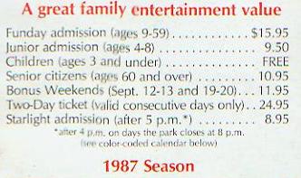 1987 Cedar Point Admission Prices