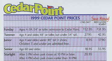 LIST | Cedar Point unveils more changes: Chick-fil-A returns. Cedar Point is currently offering a pre-season ticket sale online for $ There's also a two-day ticket available for $