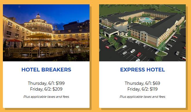 2017 Cedar Point CoasterMania Hotel Prices