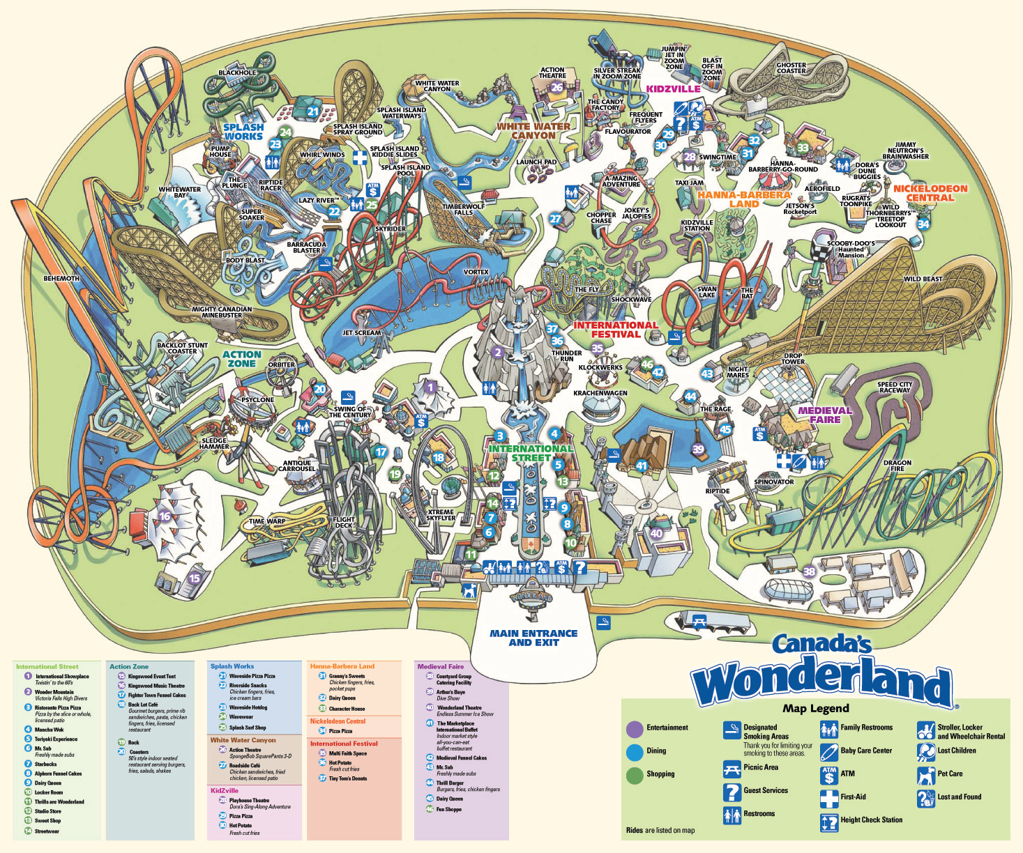 Canada Wonderland Map 2015 Canada's Wonderland Historical Maps   CP Food Blog
