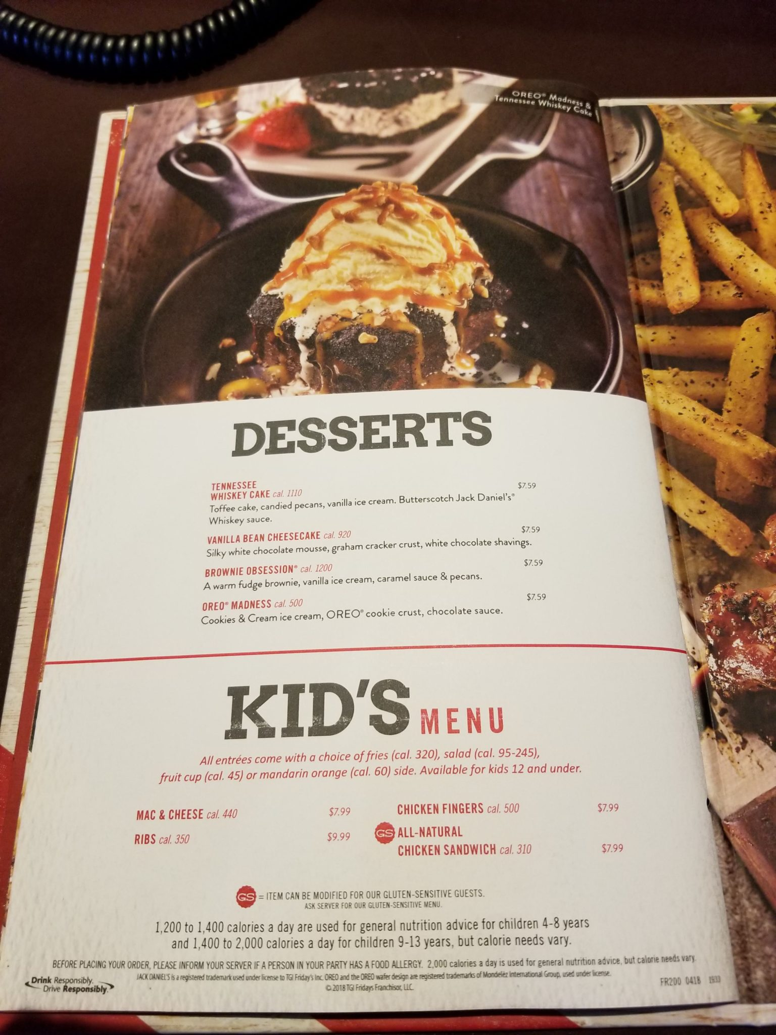 180523 cedar point tgifridays menu desserts kids menu