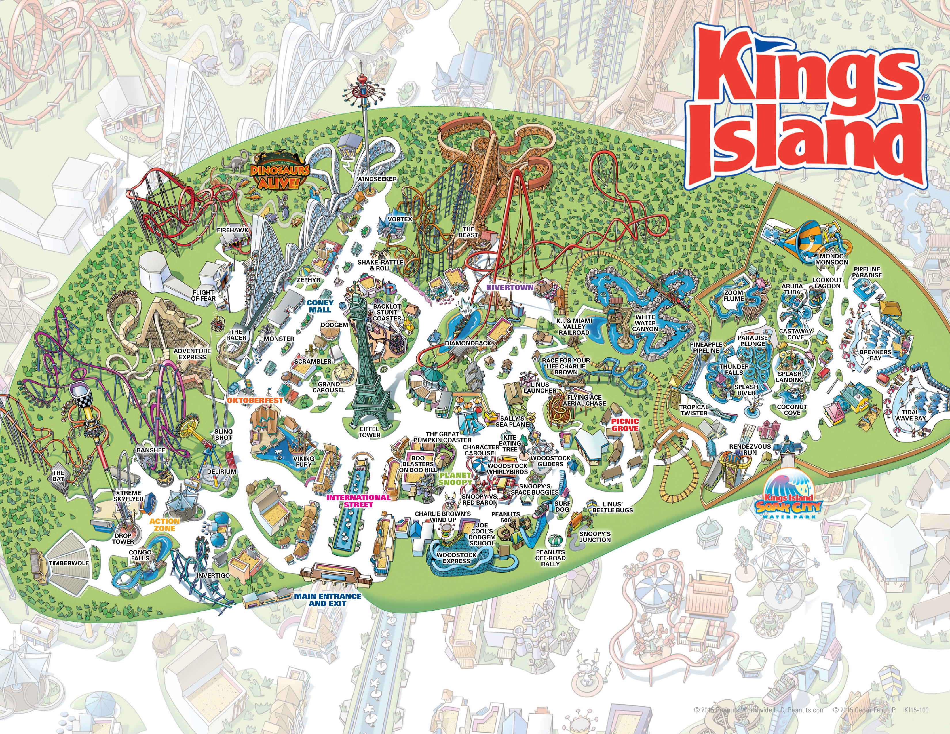 Map Of Kings Island Amusement Park Kings Island Historical Maps   CP Food Blog